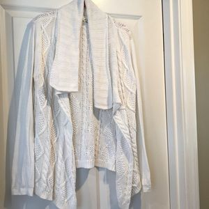 CABi 100% cotton white cable summer sweater